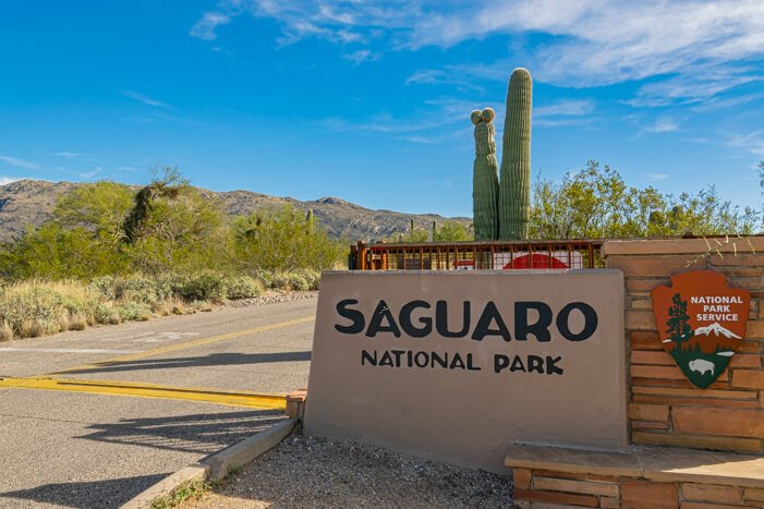 Saguaro Nationalpark Eingangsschild